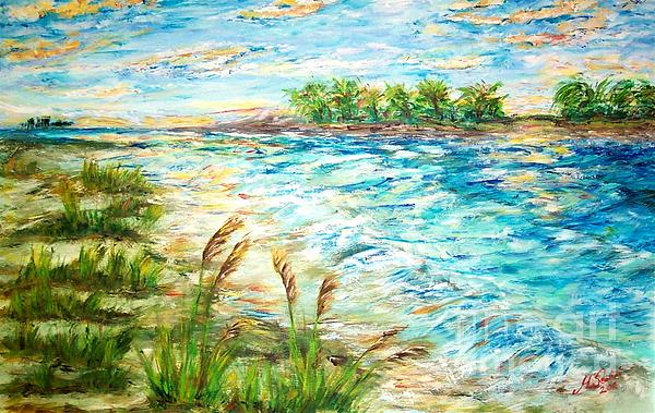 Tropical Beach Painting - Tides At Sunset by Mary Sedici