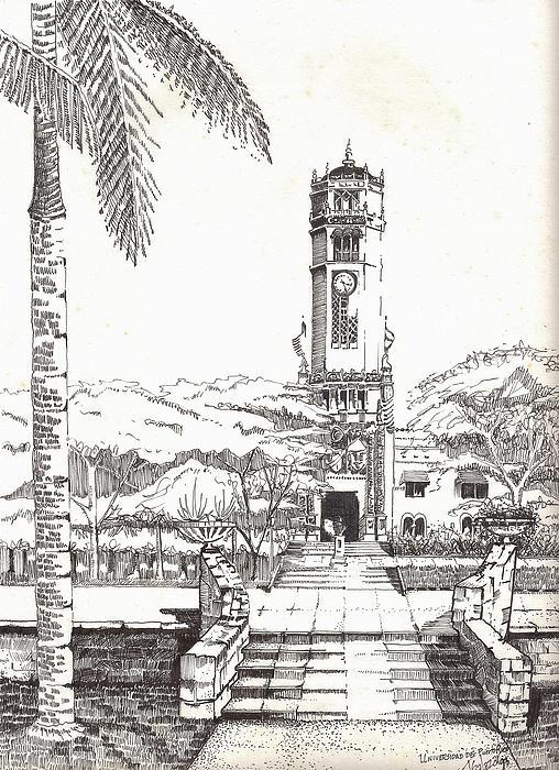 Building Drawing - Torre De La Universidad De Puerto Rico by Juan  Salazar