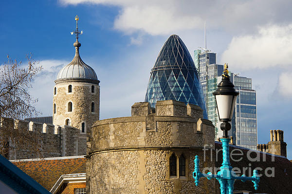 The Tower Of London Photograph - Tower And Gherkin by Donald Davis