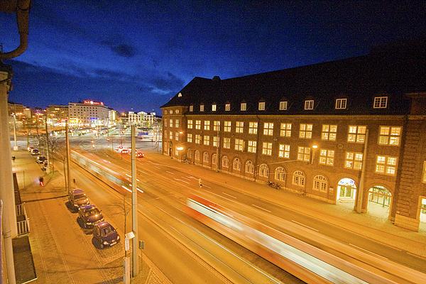 Bremen Photograph - Trams In Bremen By Night by Sydney Alvares