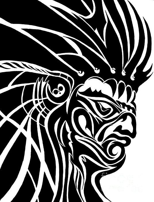 Works Drawing - Tribal Leader by Jack Norton