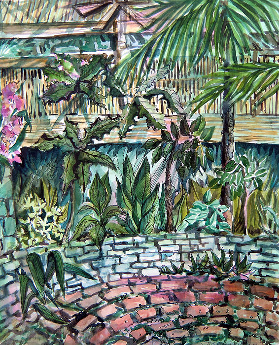 Palms Painting - Tropical Garden by Mindy Newman