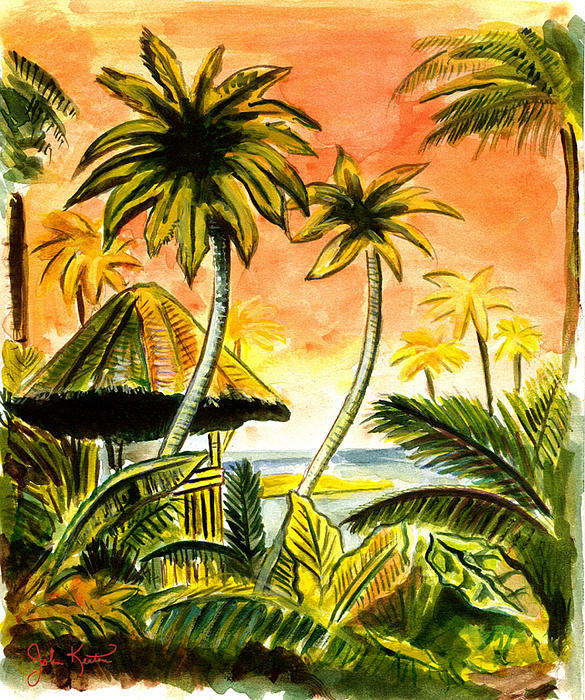 Watercolors Painting - Tropical Skies by John Keaton