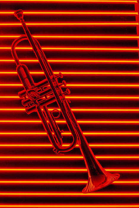 Horns Photograph - Trumpet And Red Neon by Garry Gay