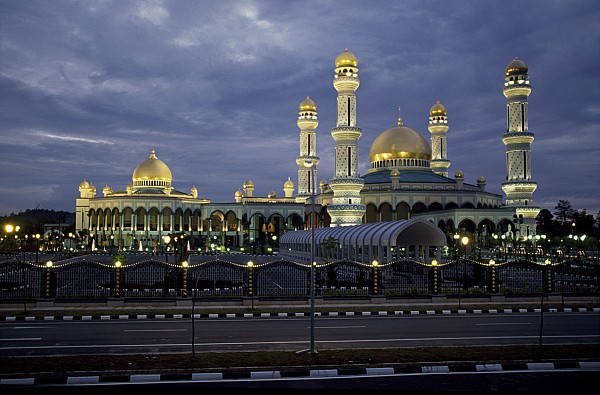 Brunei Photograph - Twilight View Of An Illuminated Mosque by Paul Chesley