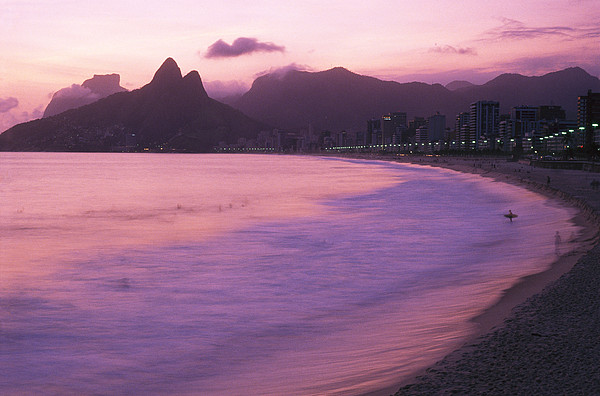 South America Photograph - Twilight View Of Ipanema Beach And Two by Michael Melford