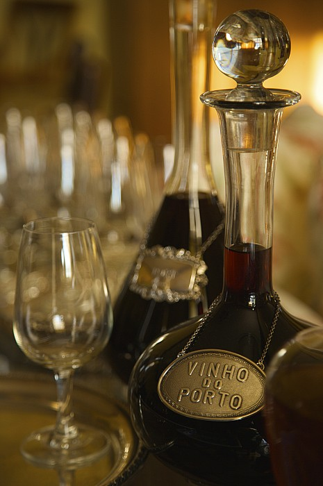 Indoors Photograph - Two Decanters Of Port Wine And Glasses by Michael Melford
