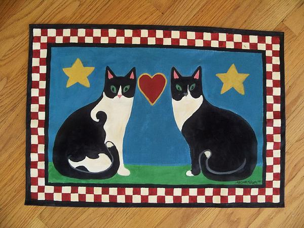 Cats Painting - Two Mewses Primitive Floor Cloth by Beth Clark-McDonal