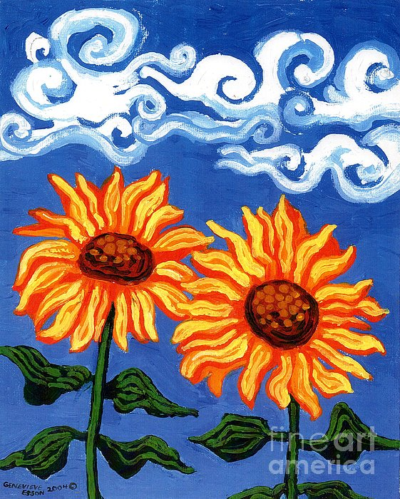 Sunflower Painting - Two Sunflowers by Genevieve Esson