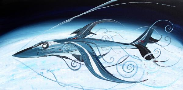 U2 Painting - U2 Spyfish - Spy Plane As Abstract Fish - by J Vincent Scarpace