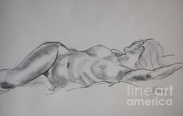 Life Drawing Drawing - Ulrike Reclining by Gill Kaye