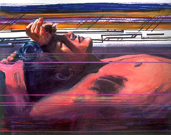 Male Figure Painting - Under Lying Currents by Rene Capone