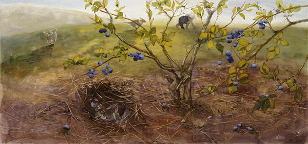 Dogs Painting - Under Thatch Cover by Leda Miller