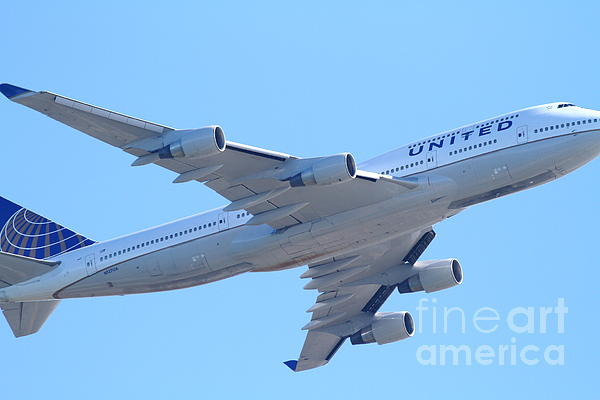 Transportation Photograph - United Airlines Boeing 747 . 7d7838 by Wingsdomain Art and Photography