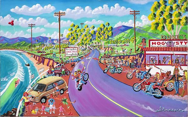 Harley Davidsons Painting - Up The Coast by Frank Strasser