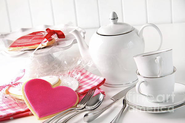 Anniversary Photograph - Valentine Cookies With Teapot And Cups by Sandra Cunningham