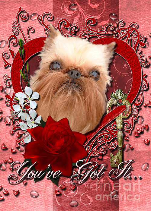 Brussels Griffon Digital Art - Valentines - Key To My Heart Brussels Griffon by Renae Laughner