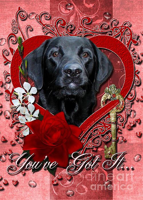 Labrador Retriever Digital Art - Valentines - Key To My Heart Labrador by Renae Laughner