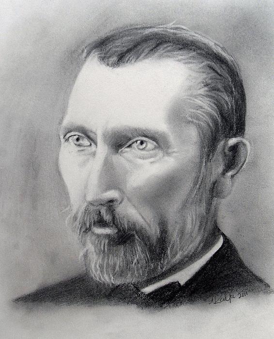 Van Gogh Drawing - Van Gogh Pencil Portrait by Andrea Realpe