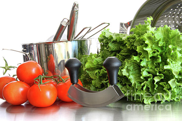 Background Photograph - Vegetables With Kitchen Pots And Utensils On White  by Sandra Cunningham