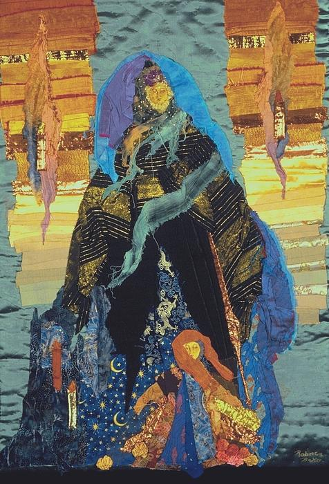Quilt Tapestry - Textile - Veiled Woman With Spirit Child by Roberta Baker