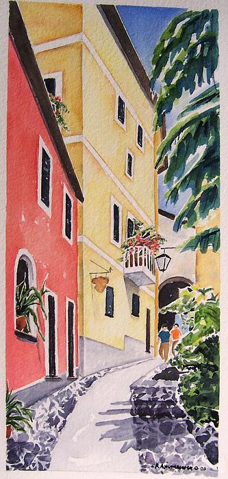 Italian Village Painting - Via G. Matteoti by Regina Ammerman