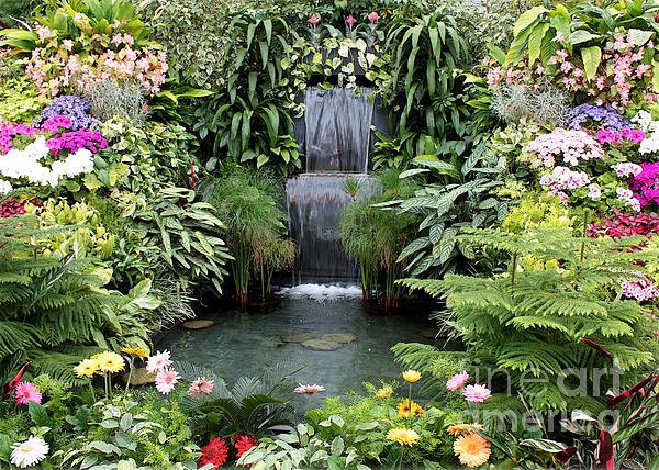 Victorian Garden Photograph - Victorian Garden Waterfall - Digital Art by Carol Groenen