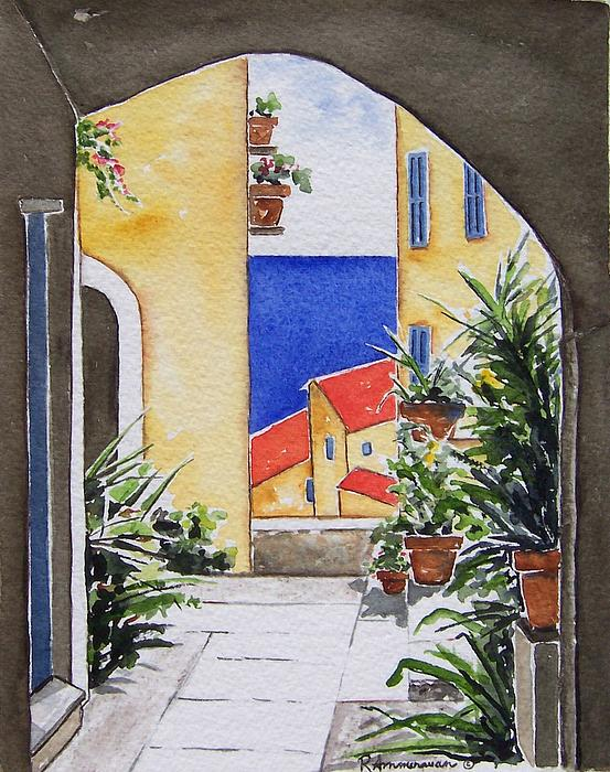 Italian Seaside Painting - View From The Arch by Regina Ammerman