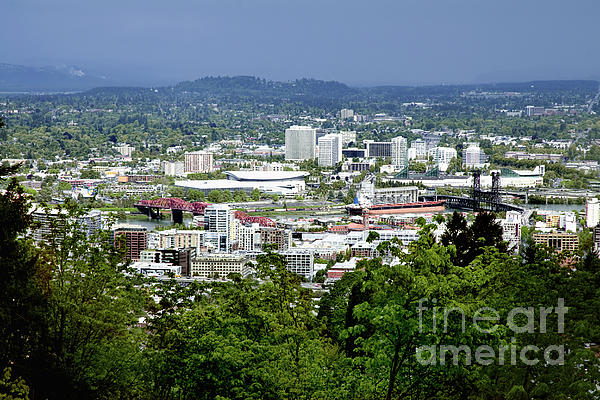 Portland Photograph - View Of Portland Oregon From Pittock Mansion  by Sherry  Curry