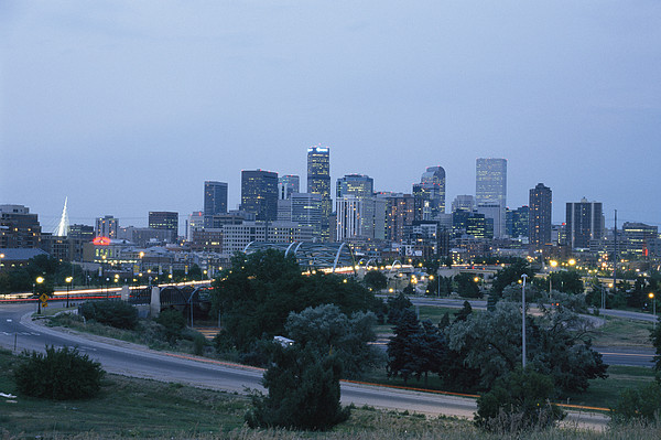 North America Photograph - View Of The Denver Skyline At Twilight by Richard Nowitz