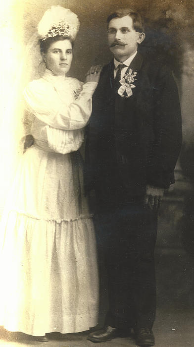 Digitized Photograph - Vintage Bride And Groom by Alan Espasandin