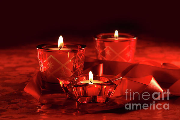 Background Photograph - Votive Candles On Dark Red Background by Sandra Cunningham