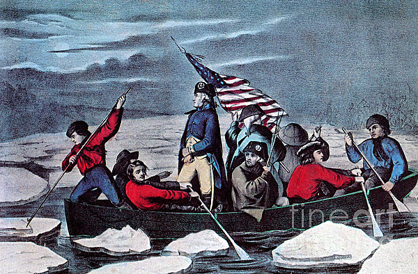History Photograph - Washington Crossing The Delaware, 1776 by Photo Researchers