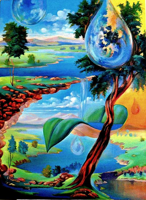 Water Planet Painting by Leomariano artist BRASIL