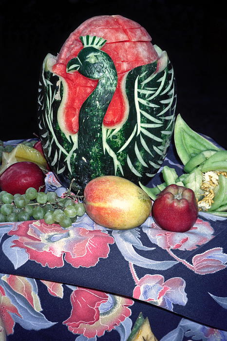Apples Photograph - Watermelon Swan by Sally Weigand