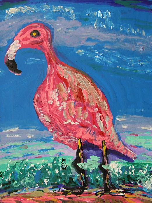 Flamingo Painting - Wave Fisherman by Mary Carol Williams
