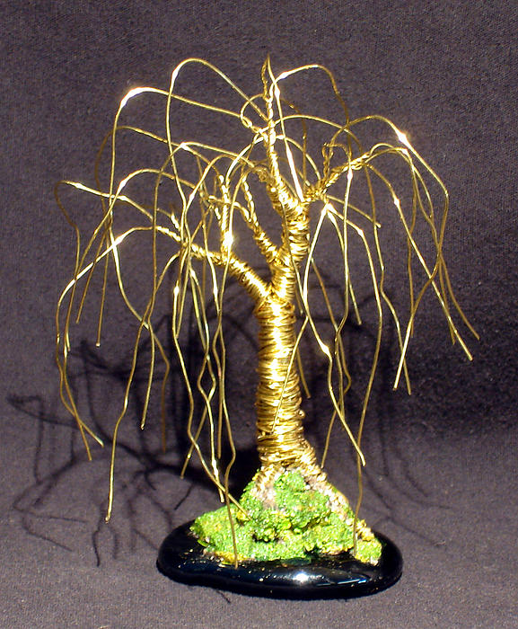 Sculpture Sculpture - Weeping Willow Mini - Wire Tree by Sal Villano
