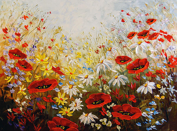 Poppies Painting - What A Wonderful Day by Irena Sherstyuk