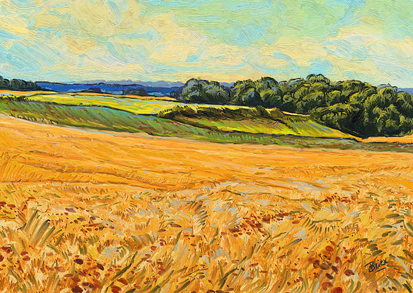 Wheat Field Graanveld Limburg Landscape Oil Painting Briex Painting - Wheat Field In Limburg by Nop Briex