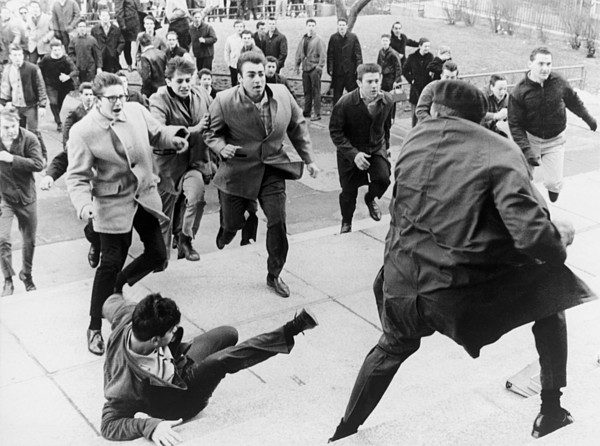 History Photograph - White Students Running Toward An by Everett