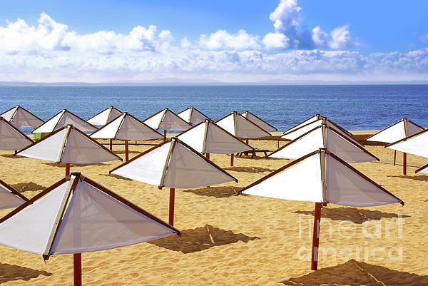 Beach Photograph - White Sunshades by Carlos Caetano