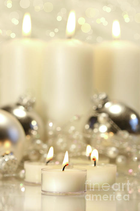 Background Photograph - White Votive Candles  by Sandra Cunningham