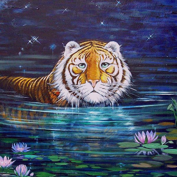 Tiger Eyes Painting - Why 3 by Silvia  Duran