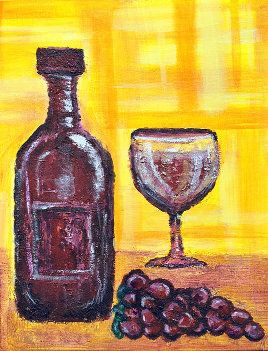 Wine Painting - Wine Still Life 2 by Janice Gelona