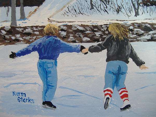 Ice Skating Painting - Winter Fun by Norm Starks