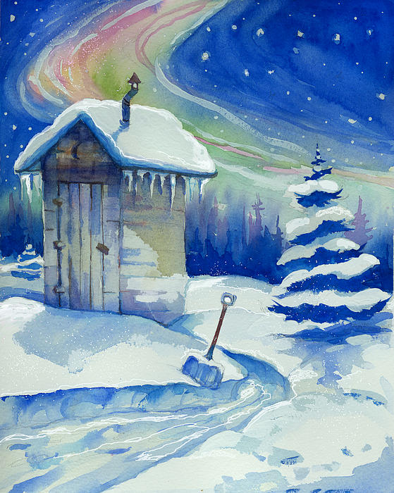 Out House Mixed Media - Winter Outhouse by Peggy Wilson