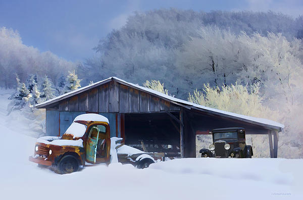 Winter Photograph - Winter Shed by Ron Jones