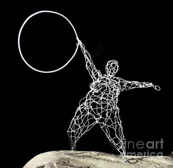 Wire Sculpture Sculpture - Wire Lady Holding Hoop by Tommy  Urbans