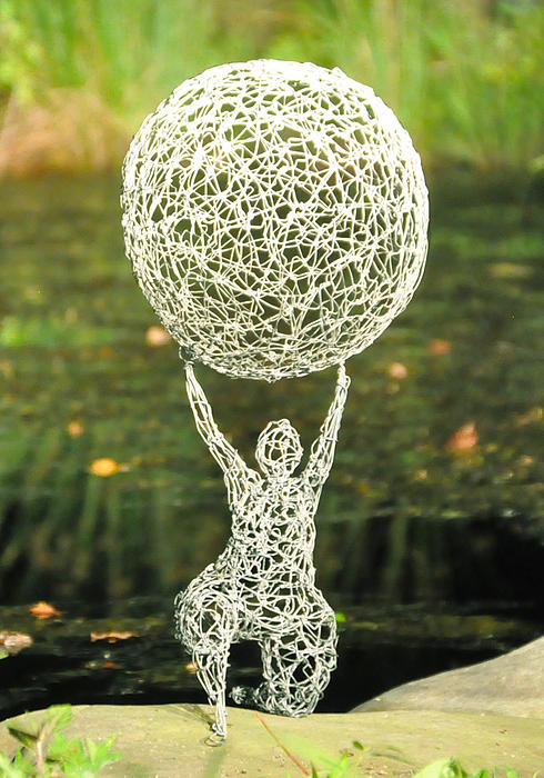 Wire Sculpture - Wire Woman Holding A Ball by Tommy  Urbans