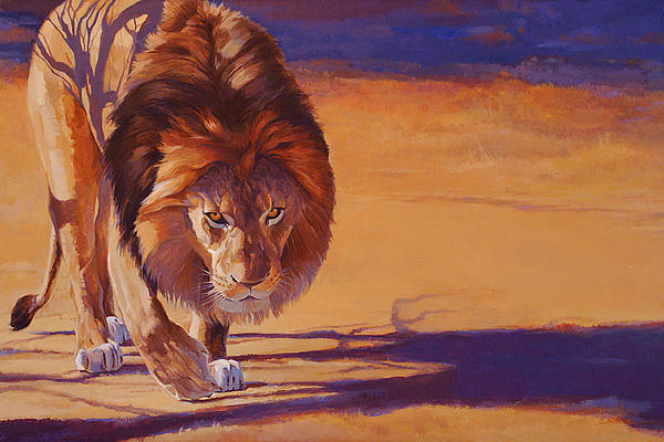 African Lion Painting - Within Striking Distance - African Lion by Shawn Shea